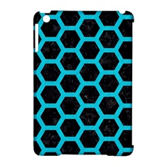 HEXAGON2 BLACK MARBLE & TURQUOISE COLORED PENCIL (R) Apple iPad Mini Hardshell Case (Compatible with Smart Cover)
