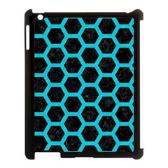 HEXAGON2 BLACK MARBLE & TURQUOISE COLORED PENCIL (R) Apple iPad 3/4 Case (Black)
