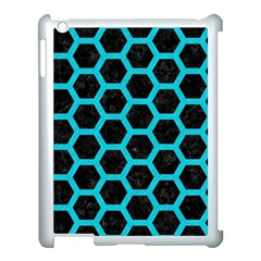 HEXAGON2 BLACK MARBLE & TURQUOISE COLORED PENCIL (R) Apple iPad 3/4 Case (White)