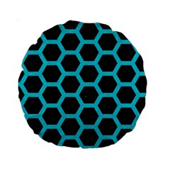 HEXAGON2 BLACK MARBLE & TURQUOISE COLORED PENCIL (R) Standard 15  Premium Round Cushions