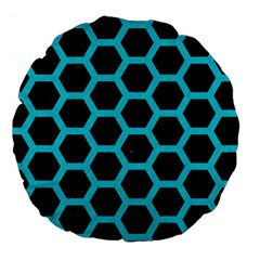 HEXAGON2 BLACK MARBLE & TURQUOISE COLORED PENCIL (R) Large 18  Premium Round Cushions