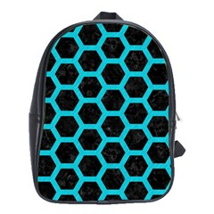 HEXAGON2 BLACK MARBLE & TURQUOISE COLORED PENCIL (R) School Bag (XL)