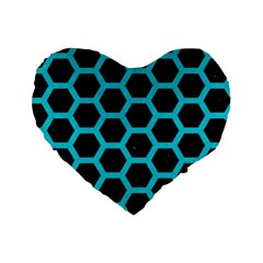 HEXAGON2 BLACK MARBLE & TURQUOISE COLORED PENCIL (R) Standard 16  Premium Heart Shape Cushions