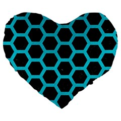 HEXAGON2 BLACK MARBLE & TURQUOISE COLORED PENCIL (R) Large 19  Premium Heart Shape Cushions