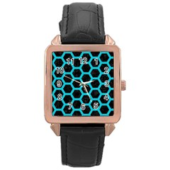 HEXAGON2 BLACK MARBLE & TURQUOISE COLORED PENCIL (R) Rose Gold Leather Watch