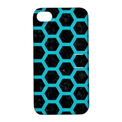 HEXAGON2 BLACK MARBLE & TURQUOISE COLORED PENCIL (R) Apple iPhone 4/4S Hardshell Case with Stand