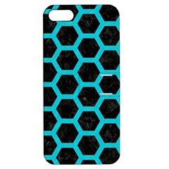 HEXAGON2 BLACK MARBLE & TURQUOISE COLORED PENCIL (R) Apple iPhone 5 Hardshell Case with Stand
