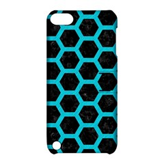 HEXAGON2 BLACK MARBLE & TURQUOISE COLORED PENCIL (R) Apple iPod Touch 5 Hardshell Case with Stand