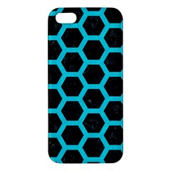 HEXAGON2 BLACK MARBLE & TURQUOISE COLORED PENCIL (R) Apple iPhone 5 Premium Hardshell Case
