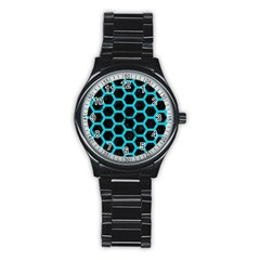 HEXAGON2 BLACK MARBLE & TURQUOISE COLORED PENCIL (R) Stainless Steel Round Watch