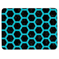 HEXAGON2 BLACK MARBLE & TURQUOISE COLORED PENCIL (R) Samsung Galaxy Tab 7  P1000 Flip Case