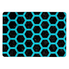 HEXAGON2 BLACK MARBLE & TURQUOISE COLORED PENCIL (R) Samsung Galaxy Tab 10.1  P7500 Flip Case