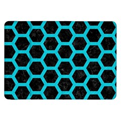 HEXAGON2 BLACK MARBLE & TURQUOISE COLORED PENCIL (R) Samsung Galaxy Tab 8.9  P7300 Flip Case