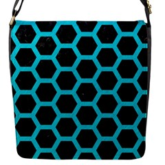 HEXAGON2 BLACK MARBLE & TURQUOISE COLORED PENCIL (R) Flap Messenger Bag (S)