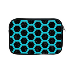 HEXAGON2 BLACK MARBLE & TURQUOISE COLORED PENCIL (R) Apple iPad Mini Zipper Cases