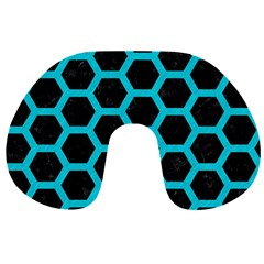 HEXAGON2 BLACK MARBLE & TURQUOISE COLORED PENCIL (R) Travel Neck Pillows