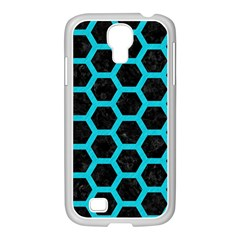 HEXAGON2 BLACK MARBLE & TURQUOISE COLORED PENCIL (R) Samsung GALAXY S4 I9500/ I9505 Case (White)