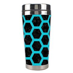 HEXAGON2 BLACK MARBLE & TURQUOISE COLORED PENCIL (R) Stainless Steel Travel Tumblers
