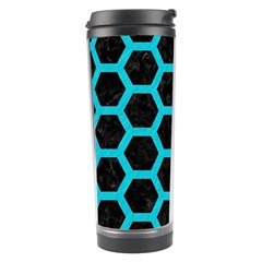 HEXAGON2 BLACK MARBLE & TURQUOISE COLORED PENCIL (R) Travel Tumbler