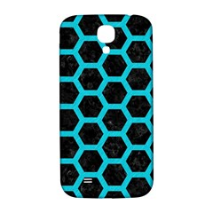 HEXAGON2 BLACK MARBLE & TURQUOISE COLORED PENCIL (R) Samsung Galaxy S4 I9500/I9505  Hardshell Back Case