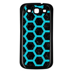 HEXAGON2 BLACK MARBLE & TURQUOISE COLORED PENCIL (R) Samsung Galaxy S3 Back Case (Black)