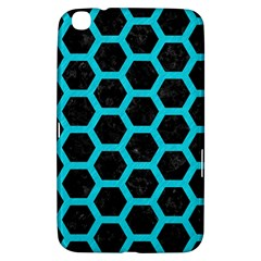 HEXAGON2 BLACK MARBLE & TURQUOISE COLORED PENCIL (R) Samsung Galaxy Tab 3 (8 ) T3100 Hardshell Case