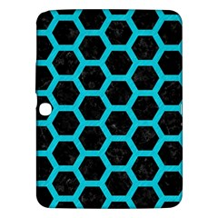 HEXAGON2 BLACK MARBLE & TURQUOISE COLORED PENCIL (R) Samsung Galaxy Tab 3 (10.1 ) P5200 Hardshell Case