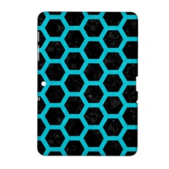 HEXAGON2 BLACK MARBLE & TURQUOISE COLORED PENCIL (R) Samsung Galaxy Tab 2 (10.1 ) P5100 Hardshell Case