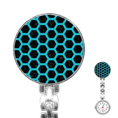 HEXAGON2 BLACK MARBLE & TURQUOISE COLORED PENCIL (R) Stainless Steel Nurses Watch
