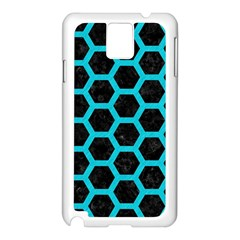 HEXAGON2 BLACK MARBLE & TURQUOISE COLORED PENCIL (R) Samsung Galaxy Note 3 N9005 Case (White)