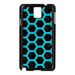 HEXAGON2 BLACK MARBLE & TURQUOISE COLORED PENCIL (R) Samsung Galaxy Note 3 N9005 Case (Black)