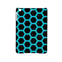 HEXAGON2 BLACK MARBLE & TURQUOISE COLORED PENCIL (R) iPad Mini 2 Hardshell Cases