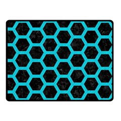 HEXAGON2 BLACK MARBLE & TURQUOISE COLORED PENCIL (R) Double Sided Fleece Blanket (Small)