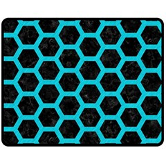 HEXAGON2 BLACK MARBLE & TURQUOISE COLORED PENCIL (R) Double Sided Fleece Blanket (Medium)