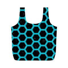 HEXAGON2 BLACK MARBLE & TURQUOISE COLORED PENCIL (R) Full Print Recycle Bags (M)
