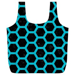 HEXAGON2 BLACK MARBLE & TURQUOISE COLORED PENCIL (R) Full Print Recycle Bags (L)