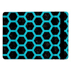 HEXAGON2 BLACK MARBLE & TURQUOISE COLORED PENCIL (R) Samsung Galaxy Tab Pro 12.2  Flip Case