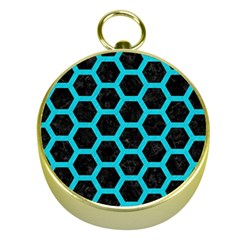 HEXAGON2 BLACK MARBLE & TURQUOISE COLORED PENCIL (R) Gold Compasses