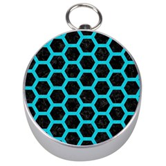 HEXAGON2 BLACK MARBLE & TURQUOISE COLORED PENCIL (R) Silver Compasses
