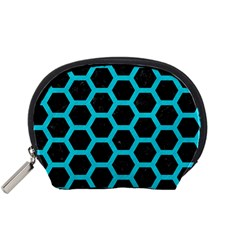 HEXAGON2 BLACK MARBLE & TURQUOISE COLORED PENCIL (R) Accessory Pouches (Small)