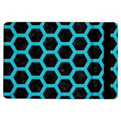 HEXAGON2 BLACK MARBLE & TURQUOISE COLORED PENCIL (R) iPad Air Flip