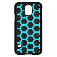 HEXAGON2 BLACK MARBLE & TURQUOISE COLORED PENCIL (R) Samsung Galaxy S5 Case (Black)