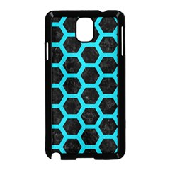 HEXAGON2 BLACK MARBLE & TURQUOISE COLORED PENCIL (R) Samsung Galaxy Note 3 Neo Hardshell Case (Black)