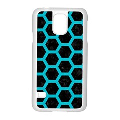 HEXAGON2 BLACK MARBLE & TURQUOISE COLORED PENCIL (R) Samsung Galaxy S5 Case (White)