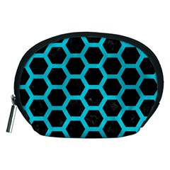 HEXAGON2 BLACK MARBLE & TURQUOISE COLORED PENCIL (R) Accessory Pouches (Medium)
