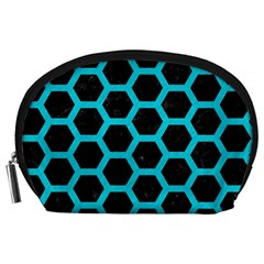 HEXAGON2 BLACK MARBLE & TURQUOISE COLORED PENCIL (R) Accessory Pouches (Large)
