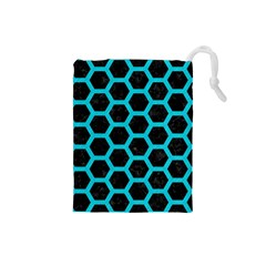 HEXAGON2 BLACK MARBLE & TURQUOISE COLORED PENCIL (R) Drawstring Pouches (Small)