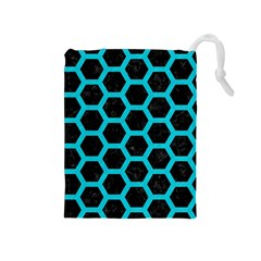 HEXAGON2 BLACK MARBLE & TURQUOISE COLORED PENCIL (R) Drawstring Pouches (Medium)