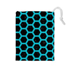HEXAGON2 BLACK MARBLE & TURQUOISE COLORED PENCIL (R) Drawstring Pouches (Large)