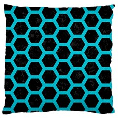 HEXAGON2 BLACK MARBLE & TURQUOISE COLORED PENCIL (R) Large Flano Cushion Case (One Side)